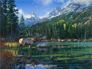 """Darrell Bush Hand Signed and Numbered Limited Edition Giclee:""""Challenge at Sting Lake"""""""