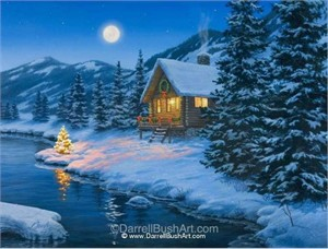 "Darrell Bush Hand Signed and Numbered Limited Edition Giclee:""Christmas Cabin"""