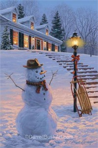 """Darrell Bush Hand Signed and Numbered Limited Edition Giclee:""""Winters Welcome"""""""