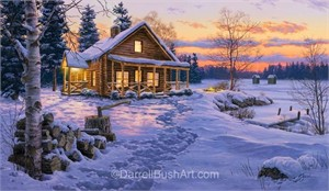 "Darrell Bush Hand Signed and Numbered Limited Edition Giclee:""Winter Bliss"""