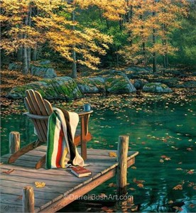"Darrell Bush Hand Signed and Numbered Limited Edition Giclee:""Reflecting on Golden Pond"""
