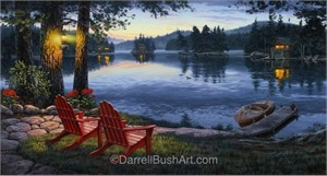 """Darrell Bush Hand Signed and Numbered Limited Edition Giclee:""""Twilight's Calm"""""""