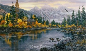 """Darrell Bush Hand Signed and Numbered Limited Edition Giclee:""""Mountain Hideaway"""""""