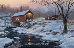 "Darrell Bush Hand Signed and Numbered Limited Edition Giclee:""Holiday Traditions"""