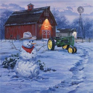 """Darrell Bush Hand Signed and Numbered Limited Edition Giclee:""""Country Christmas"""""""