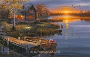 """Darrell Bush Hand Signed and Numbered Limited Edition Giclee:""""Autumn at the Lake"""""""
