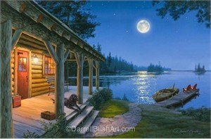 """Darrell Bush Hand Signed and Numbered Limited Edition Giclee:""""Back at the Lake"""""""