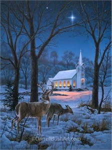 """Darrell Bush Hand Signed and Numbered Limited Edition Giclee:""""A Midnight Clear"""""""