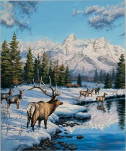 """Darrell Bush Hand Signed and Numbered Limited Edition Giclee:""""Teton Winter Range"""""""