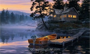 "Darrell Bush Hand Signed and Numbered Limited Edition Giclee:""Silent Shores"""