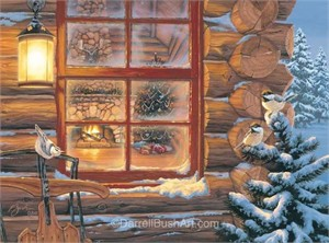 "Darrell Bush Hand Signed and Numbered Limited Edition Giclee:""Winter's Retreat"""