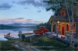 "Darrell Bush Hand Signed and Numbered Limited Edition Giclee:""Cabin Fever"""