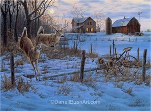 "Darrell Bush Hand Signed and Numbered Limited Edition Giclee:""Evening Run"""