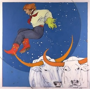 "Donna Howell-Sickles Hand Signed and Numbered Limited Edition Print w/book :"" And the Cowgirl Jumped over the Moon """