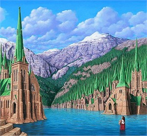 "Rob Gonsalves Handsigned and Numbered Limited Edition Paper or Canvas:""Arboreal Office"""