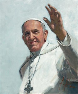 "Fabian Perez Handsigned and Numbered Limited Edition Canvas Giclee:""Pope Francis"""