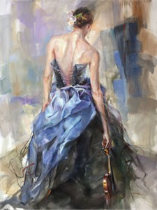 "Anna Razumovskaya Hand Signed and Numbered Limited Edition Artist Embellished Canvas Giclee: ""Nuance"""