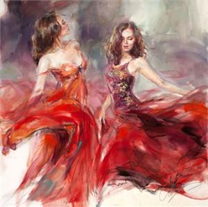 "Anna Razumovskaya Hand Signed and Numbered Limited Edition Artist Embellished Canvas Giclee: ""Blazing Dance 1 (II)"""