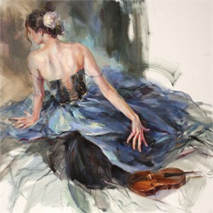 "Anna Razumovskaya Hand Signed and Numbered Limited Edition Artist Embellished Canvas Giclee: ""Emphasis 1"""