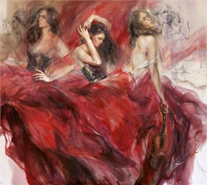 "Anna Razumovskaya Hand Signed and Numbered Limited Edition Artist Embellished Canvas Giclee: ""Garnet Melody"""