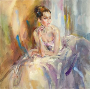"Anna Razumovskaya Hand Signed and Numbered Limited Edition Artist Embellished Canvas Giclee:""Soft as Silk"""