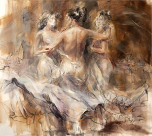 "Anna Razumovskaya Hand Signed and Numbered Limited Edition Artist Embellished Canvas Giclee: ""Devotion"""
