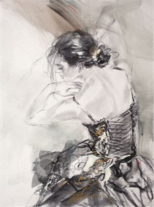 """Anna Razumovskaya Hand Signed and Numbered Limited Edition Artist Embellished Canvas Giclee:""""Poetry in Motion 1 (II)"""""""
