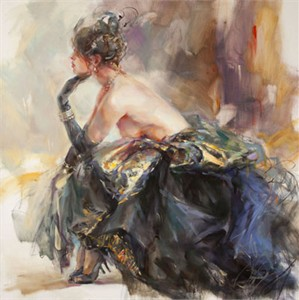 """Anna Razumovskaya Hand Signed and Numbered Limited Edition Artist Embellished Canvas Giclee:""""Burlesque"""""""