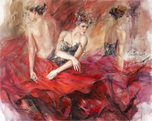 "Anna Razumovskaya Hand Signed and Numbered Limited Edition Artist Embellished Canvas Giclee:""Crimnson Wave"""