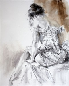 "Anna Razumovskaya Hand Signed and Numbered Limited Edition Artist Embellished Canvas Giclee:""French Laces 1"""