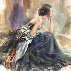 "Anna Razumovskaya Hand Signed and Numbered Limited Edition Artist Embellished Canvas Giclee:""Pearl Bracelet"""
