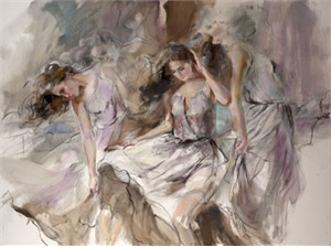 "Anna Razumovskaya Hand Signed and Numbered Limited Edition Artist Embellished Canvas Giclee: ""Fluidity"""