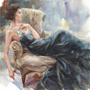 "Anna Razumovskaya Hand Signed and Numbered Limited Edition Artist Embellished Canvas Giclee:""Teal Melody 2"""
