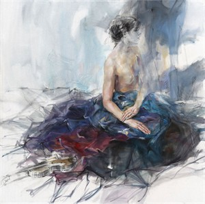 "Anna Razumovskaya Hand Signed and Numbered Limited Edition Artist Embellished Canvas Giclee:""Distant Song"""