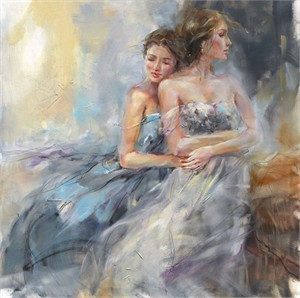 "Anna Razumovskaya Hand Signed and Numbered Limited Edition Artist Embellished Canvas Giclee: ""Summertime 2"""