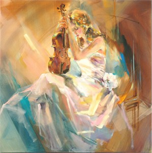 "Anna Razumovskaya Hand Signed and Numbered Limited Edition Artist Embellished Canvas Giclee: ""Romance With A Violin"""