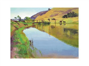 "Marcia Burtt Signed and Numbered Limited Edition Giclée on Somerset Velvet Paper:""Reservoir With Two Cows"""