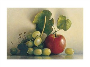 "James Del Grosso Signed and Numbered Limited Edition Giclée on Somerset Velvet Paper:""Grapes and California Apple"""