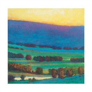 """Ken Elliott Signed and Numbered Limited Edition Giclée on Somerset Velvet Paper:""""Sunset with Blue & Green"""""""