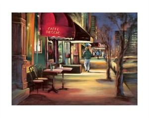 """Carol Jessen Signed and Numbered Limited Edition Giclée on William Turner Paper:""""Cafe Reggio"""""""