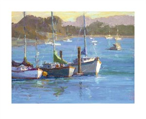 "Camille Przewodek Signed and Numbered Limited Edition Giclée on Canvas:""Three Boats"""