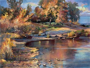 "Steve Memering Signed and Numbered Limited Edition Giclée on Canvas:""Fall River I"""