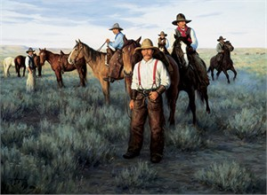 "Robert Duncan Hand Signed and Numbered Limited Edition Canvas Giclee:""Round-Up Wyoming"""