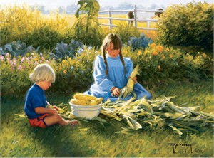 "Robert Duncan Hand Signed and Numbered Limited Edition Canvas Giclee:""Corn on the Cob"""