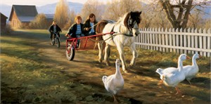 "Robert Duncan Hand Signed and Numbered Limited Edition Canvas Giclee:""The Pony Cart"""