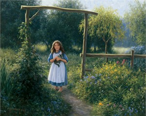 "Robert Duncan Hand Signed and Numbered Limited Edition Canvas Giclee:""Down the Garden Path"""