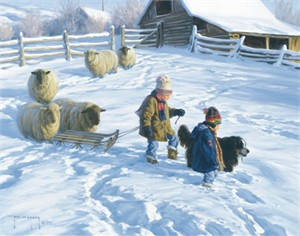 """Robert Duncan Hand Signed and Numbered Limited Edition Canvas Giclee:""""The Sledding Party"""""""