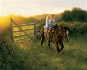 "Robert Duncan Hand Signed and Numbered Limited Edition Canvas Giclee:""Ridin Double"""