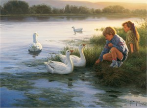"Robert Duncan Hand Signed and Numbered Limited Edition Canvas Giclee:""At the Mill Pond"""