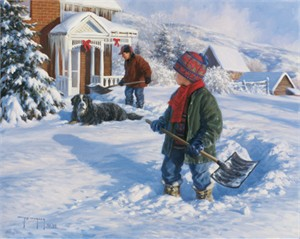 "Robert Duncan Hand Signed and Numbered Limited Edition Canvas Giclee:""Shoveling Out"""